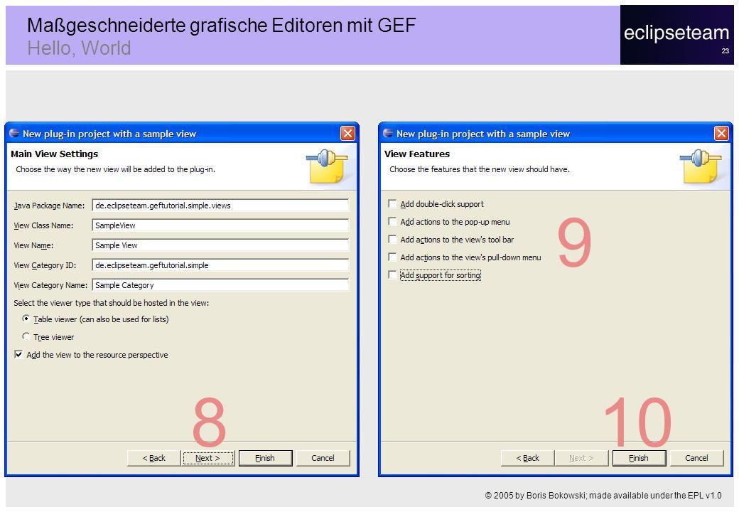 23 Maßgeschneiderte grafische Editoren mit GEF Hello, World © 2005 by Boris Bokowski; made available under the EPL v1.0 8 9 10