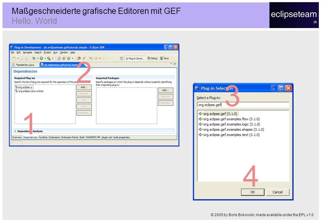 25 Maßgeschneiderte grafische Editoren mit GEF Hello, World © 2005 by Boris Bokowski; made available under the EPL v1.0 1 2 3 4