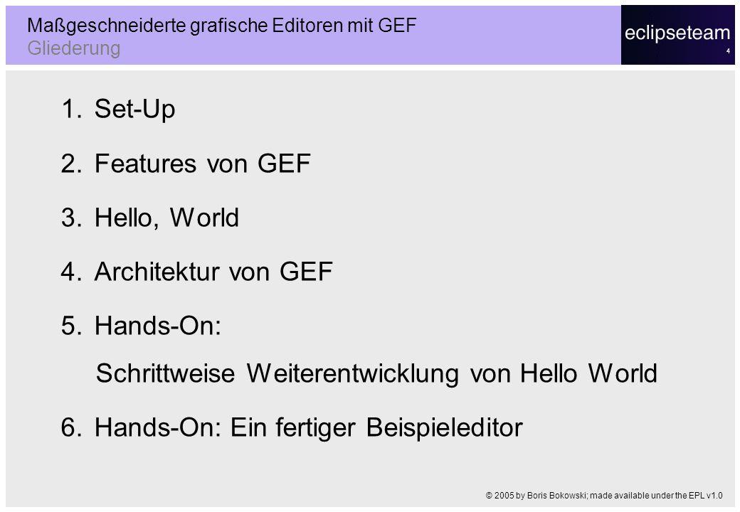 4 1.Set-Up 2.Features von GEF 3.Hello, World 4.Architektur von GEF 5.Hands-On: Schrittweise Weiterentwicklung von Hello World 6.Hands-On: Ein fertiger