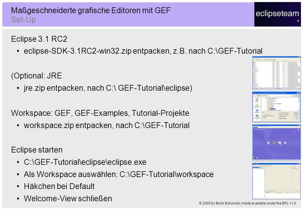 6 Eclipse 3.1 RC2 eclipse-SDK-3.1RC2-win32.zip entpacken, z.B. nach C:\GEF-Tutorial (Optional: JRE jre.zip entpacken, nach C:\ GEF-Tutorial\eclipse) W