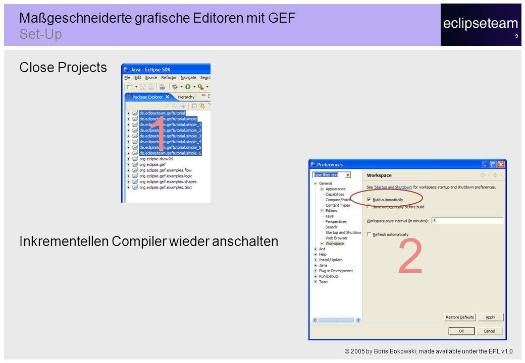 9 Close Projects Inkrementellen Compiler wieder anschalten Maßgeschneiderte grafische Editoren mit GEF Set-Up © 2005 by Boris Bokowski; made available