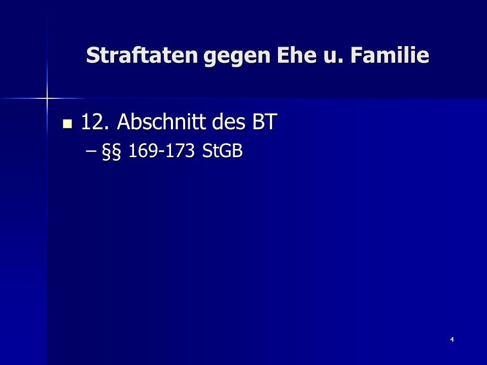 4 Straftaten gegen Ehe u. Familie 12. Abschnitt des BT 12. Abschnitt des BT –§§ 169-173 StGB