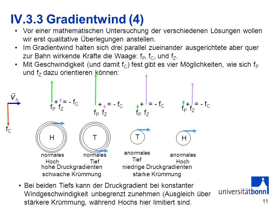 11 + = - f C f P f Z IV.3.3 Gradientwind (4) Vor einer mathematischen Untersuchung der verschiedenen Lösungen wollen wir erst qualitative Überlegungen