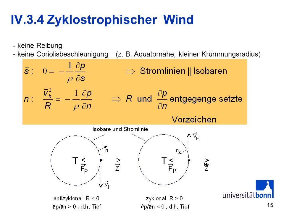 15 IV.3.4 Zyklostrophischer Wind - keine Reibung - keine Coriolisbeschleunigung (z. B. Äquatornähe, kleiner Krümmungsradius)