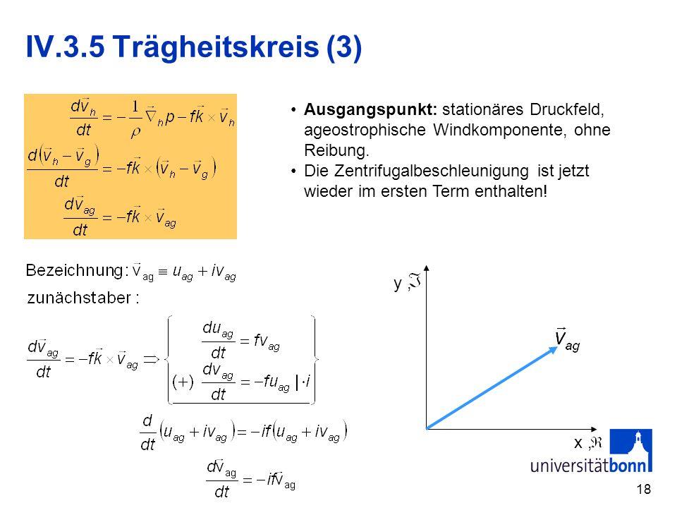 18 IV.3.5 Trägheitskreis (3) Ausgangspunkt: stationäres Druckfeld, ageostrophische Windkomponente, ohne Reibung. Die Zentrifugalbeschleunigung ist jet
