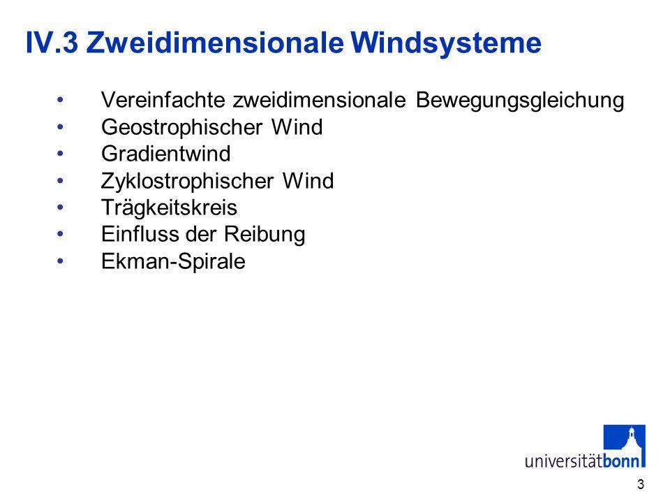 14 IV.3.3 Gradientwind (6) Diskussion Geostrophischer Wind ist in allen Lösungen mit R=± enthalten Anormale Fälle werden auf der synoptischen Skala nicht beobachtet da Druckgradient die primäre Bewegungsursache ist.