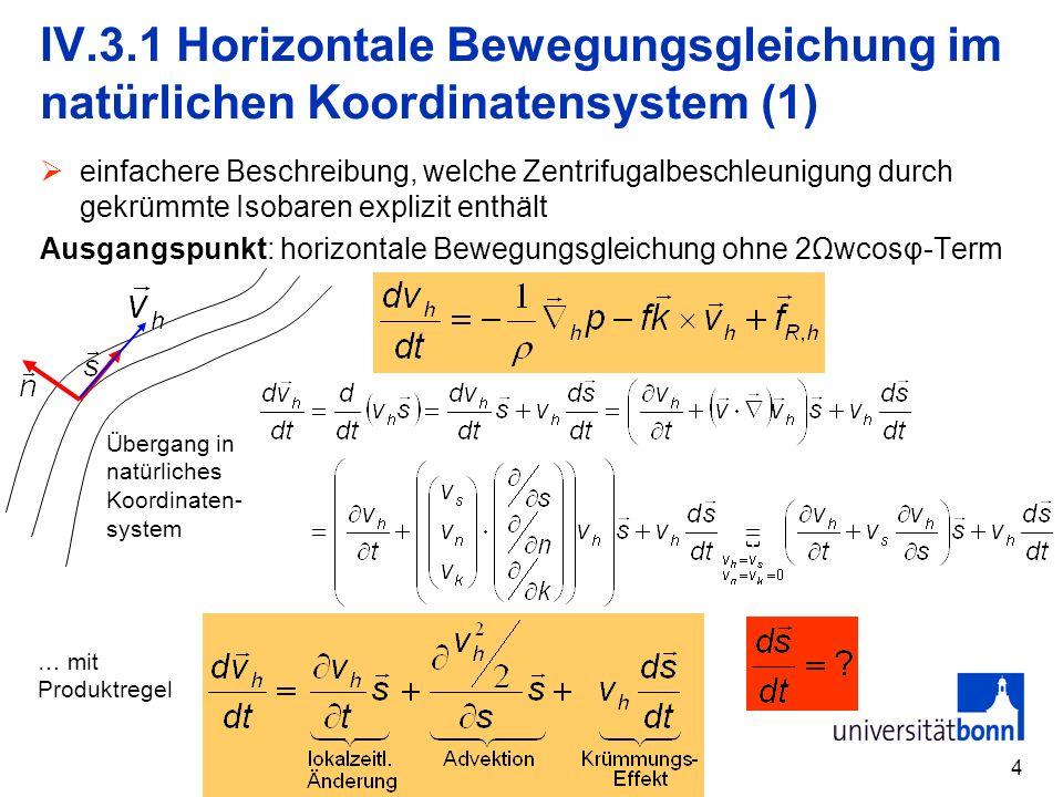 5 IV.3.1 Horizontale Bewegungsgleichung im natürlichen Koordinatensystem (2) R Δφ R>0 R<0 ΔlΔl Achtung: Der Krümmungsradius R ist wieder so definiert, dass er bei zyklonaler Krümmung positiv ist!