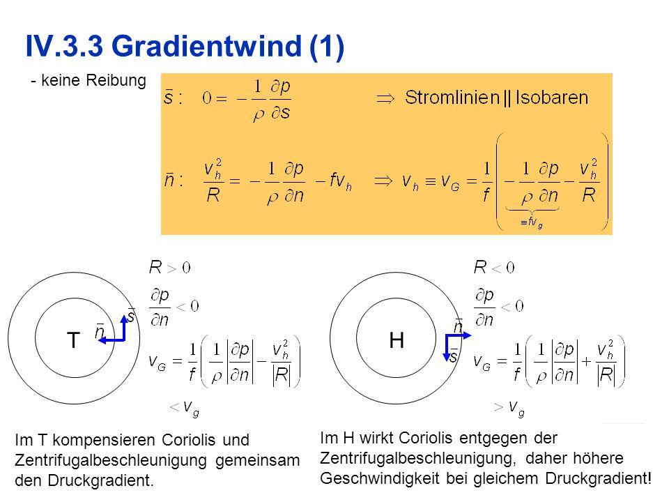 9 IV.3.3 Gradientwind (1) - keine Reibung TH Im T kompensieren Coriolis und Zentrifugalbeschleunigung gemeinsam den Druckgradient. Im H wirkt Coriolis
