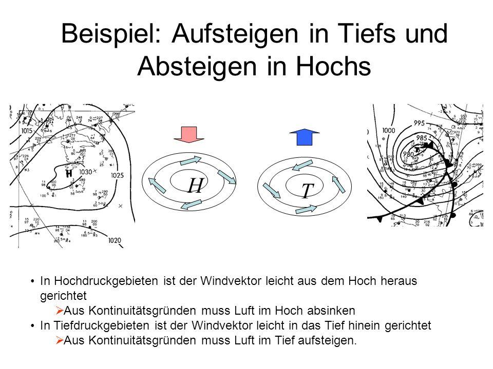 Beispiel: Aufsteigen in Tiefs und Absteigen in Hochs H T In Hochdruckgebieten ist der Windvektor leicht aus dem Hoch heraus gerichtet Aus Kontinuitäts