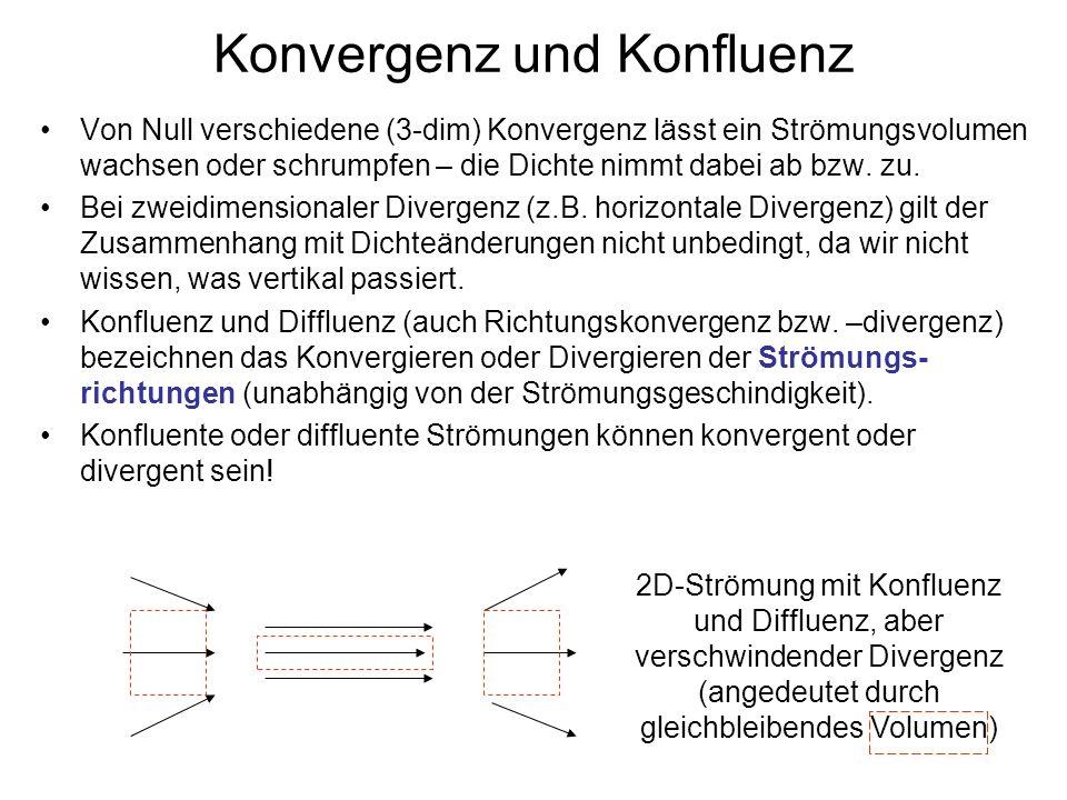 Konvergenz und Konfluenz Von Null verschiedene (3-dim) Konvergenz lässt ein Strömungsvolumen wachsen oder schrumpfen – die Dichte nimmt dabei ab bzw.