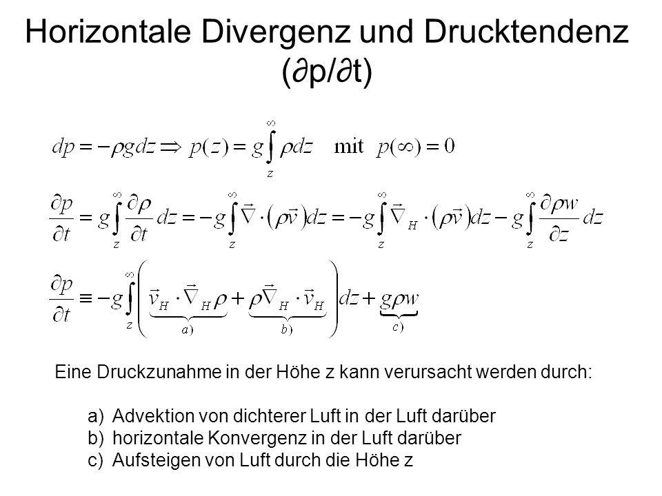 Horizontale Divergenz und Drucktendenz (p/t) Eine Druckzunahme in der Höhe z kann verursacht werden durch: a)Advektion von dichterer Luft in der Luft