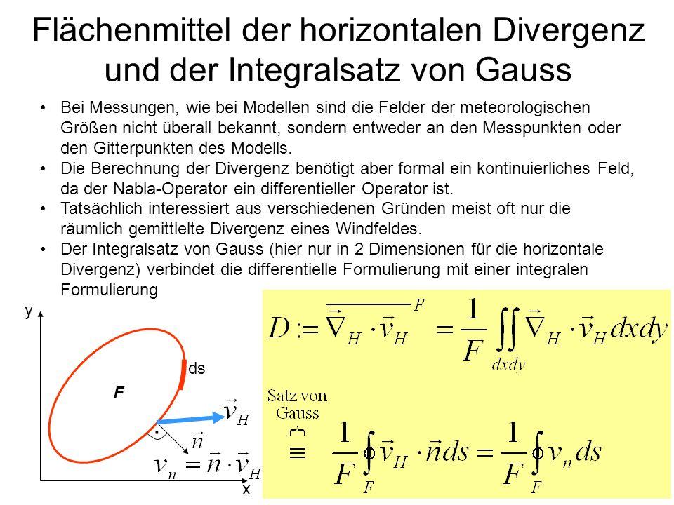 Flächenmittel der horizontalen Divergenz und der Integralsatz von Gauss Bei Messungen, wie bei Modellen sind die Felder der meteorologischen Größen ni