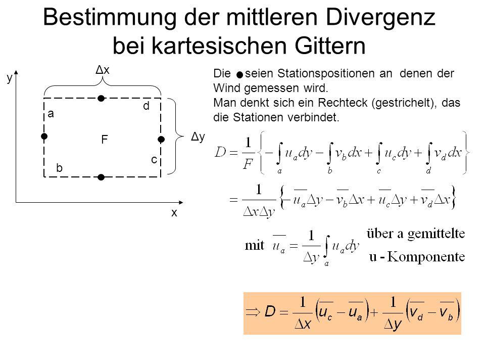 Bestimmung der mittleren Divergenz bei kartesischen Gittern x y F a b c d ΔxΔx ΔyΔy Die seien Stationspositionen an denen der Wind gemessen wird. Man