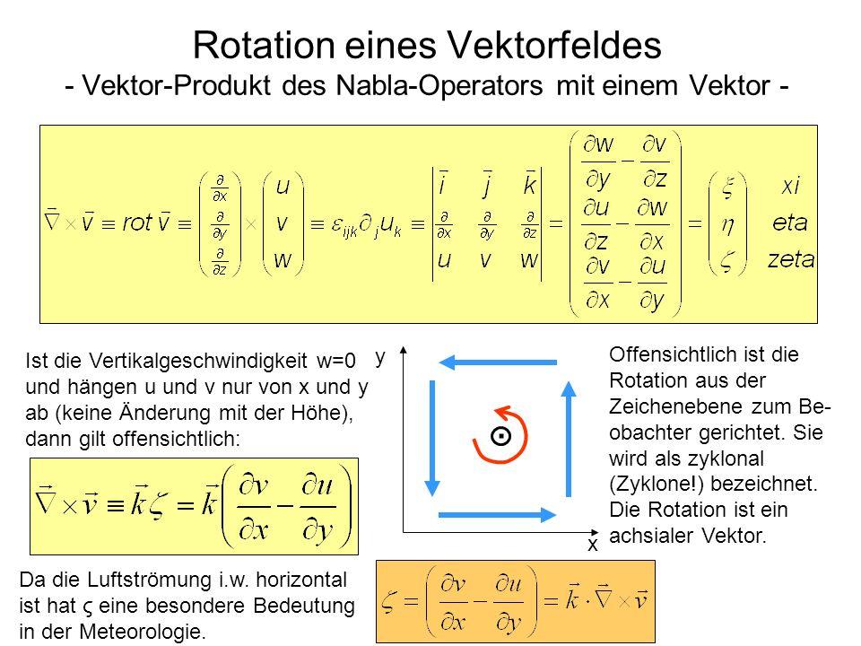 Rotation eines Vektorfeldes - Vektor-Produkt des Nabla-Operators mit einem Vektor - Ist die Vertikalgeschwindigkeit w=0 und hängen u und v nur von x u