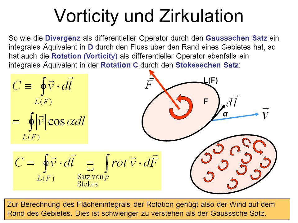 Vorticity und Zirkulation So wie die Divergenz als differentieller Operator durch den Gaussschen Satz ein integrales Äquivalent in D durch den Fluss ü