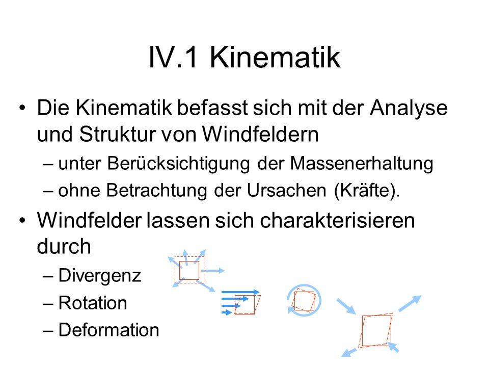 Die Kinematik befasst sich mit der Analyse und Struktur von Windfeldern –unter Berücksichtigung der Massenerhaltung –ohne Betrachtung der Ursachen (Kr