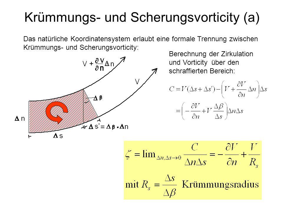 Krümmungs- und Scherungsvorticity (a) Δ Das natürliche Koordinatensystem erlaubt eine formale Trennung zwischen Krümmungs- und Scherungsvorticity: Ber