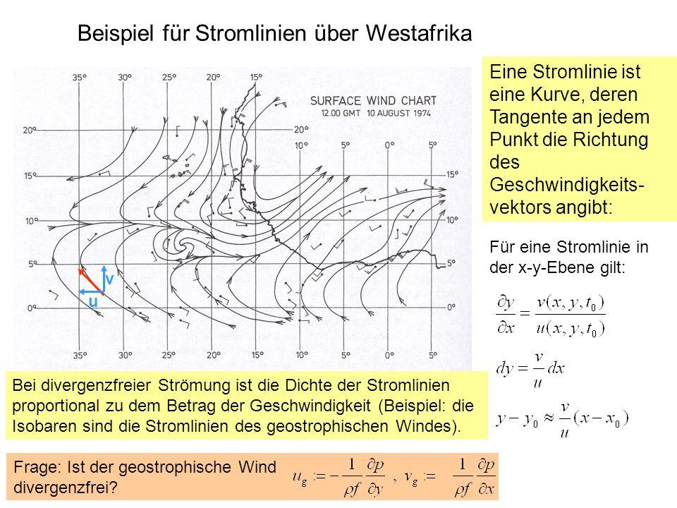 Beispiel für Stromlinien über Westafrika Eine Stromlinie ist eine Kurve, deren Tangente an jedem Punkt die Richtung des Geschwindigkeits- vektors angi