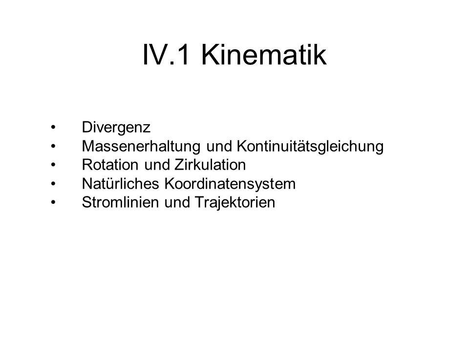 IV.1.1 Divergenz der Windgeschwindigkeit x 0 < 0 t=0 t=t 1 Bei Beschränkung auf die horizontalen Windkomponenten wird der Zusammenhang zwischen Strömungsfeld und Divergenz unmittelbar deutlich.