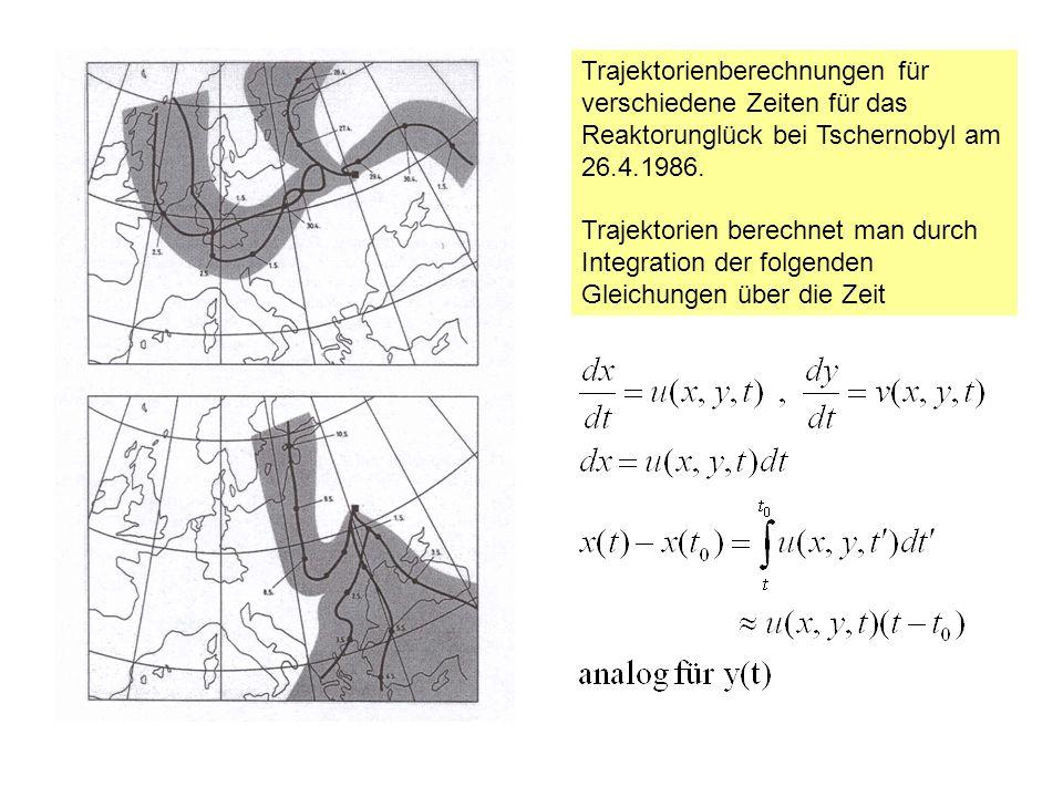 Trajektorienberechnungen für verschiedene Zeiten für das Reaktorunglück bei Tschernobyl am 26.4.1986. Trajektorien berechnet man durch Integration der