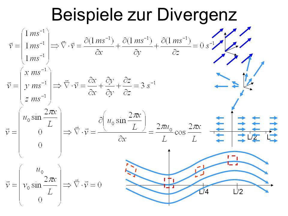 Divergenz und Massenerhaltung (1) V,m,ρ=m/V MiMi Ein Nettomassenfluss M durch die festen Volumenberandungen führt zu einer Massen- und damit Dichteänderung innerhalb des Volumens.