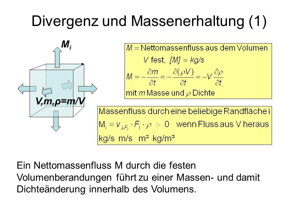 Divergenz und Massenerhaltung (1) V,m,ρ=m/V MiMi Ein Nettomassenfluss M durch die festen Volumenberandungen führt zu einer Massen- und damit Dichteänd