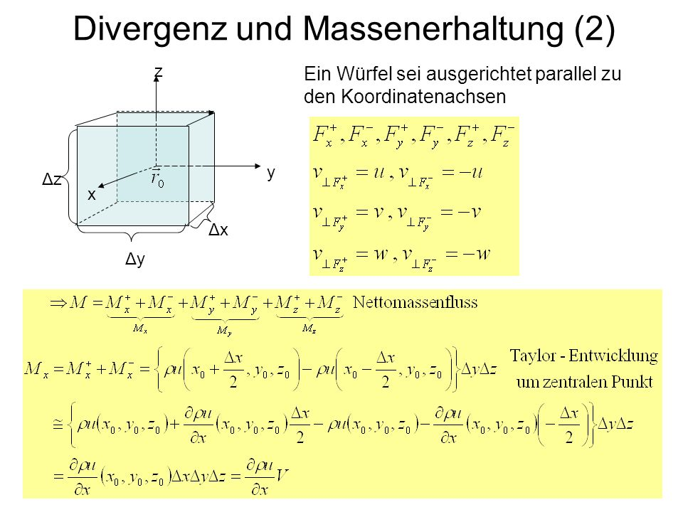 Divergenz und Massenerhaltung (3) x y z ΔyΔy ΔzΔz ΔxΔx analog für die zwei anderen Richtungen, also insgesamt: Kontinuitätsgleichung (Massenerhaltung)