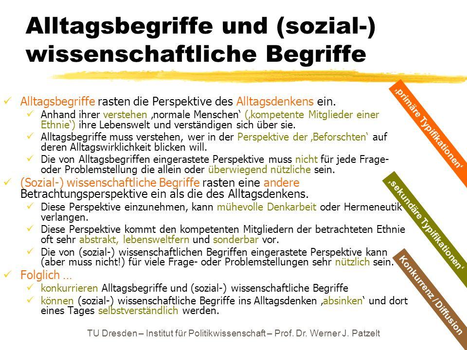TU Dresden – Institut für Politikwissenschaft – Prof. Dr. Werner J. Patzelt sekundäre Typifikationen Alltagsbegriffe und (sozial-) wissenschaftliche B