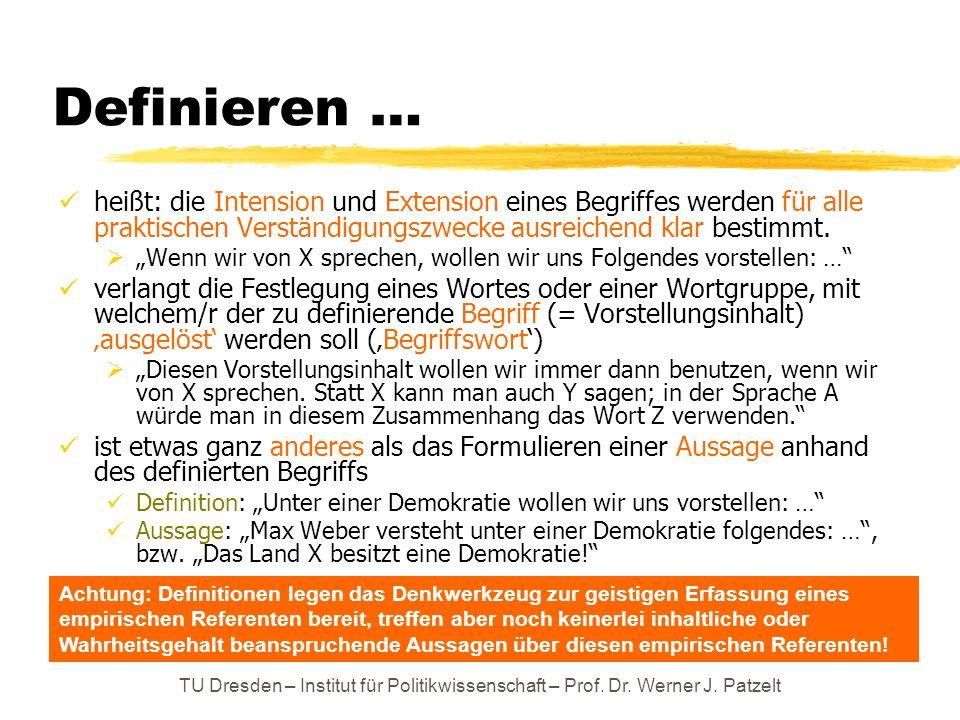 TU Dresden – Institut für Politikwissenschaft – Prof. Dr. Werner J. Patzelt Definieren … heißt: die Intension und Extension eines Begriffes werden für