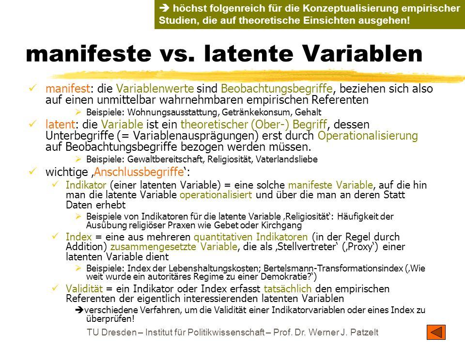 TU Dresden – Institut für Politikwissenschaft – Prof. Dr. Werner J. Patzelt manifeste vs. latente Variablen manifest: die Variablenwerte sind Beobacht