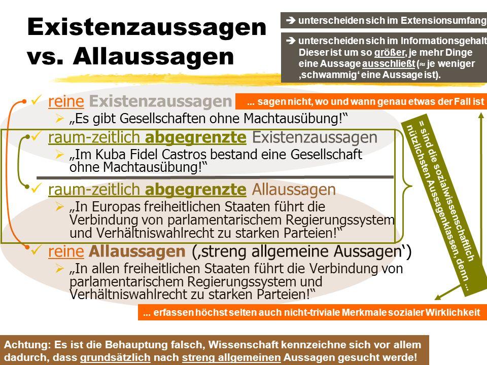 TU Dresden – Institut für Politikwissenschaft – Prof. Dr. Werner J. Patzelt Existenzaussagen vs. Allaussagen reine Existenzaussagen Es gibt Gesellscha