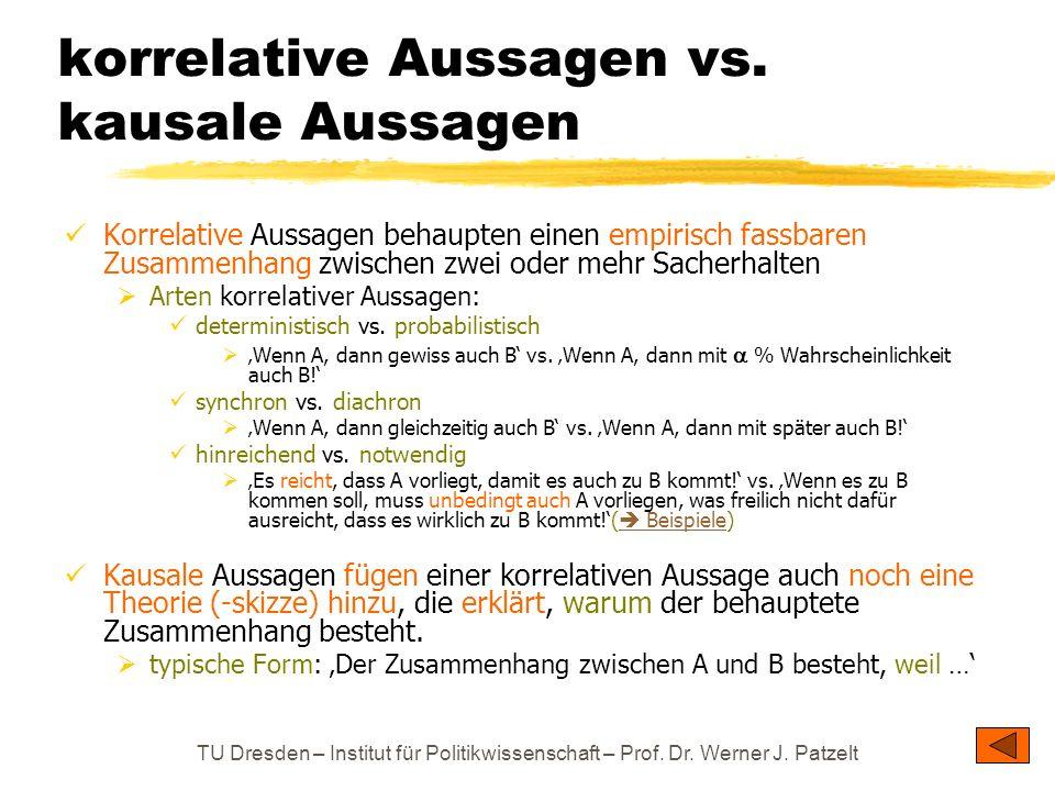 TU Dresden – Institut für Politikwissenschaft – Prof. Dr. Werner J. Patzelt korrelative Aussagen vs. kausale Aussagen Korrelative Aussagen behaupten e
