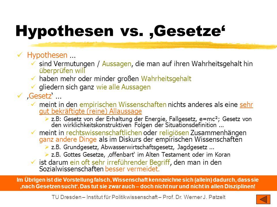 TU Dresden – Institut für Politikwissenschaft – Prof. Dr. Werner J. Patzelt Hypothesen vs. Gesetze Hypothesen … sind Vermutungen / Aussagen, die man a