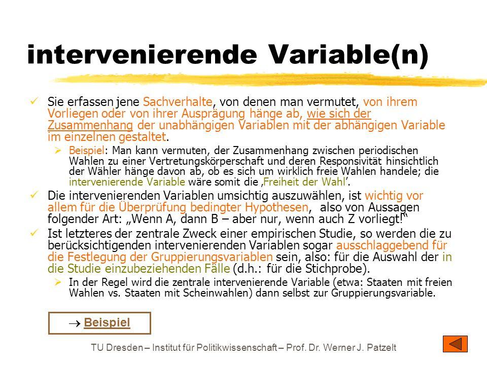 TU Dresden – Institut für Politikwissenschaft – Prof. Dr. Werner J. Patzelt intervenierende Variable(n) Sie erfassen jene Sachverhalte, von denen man
