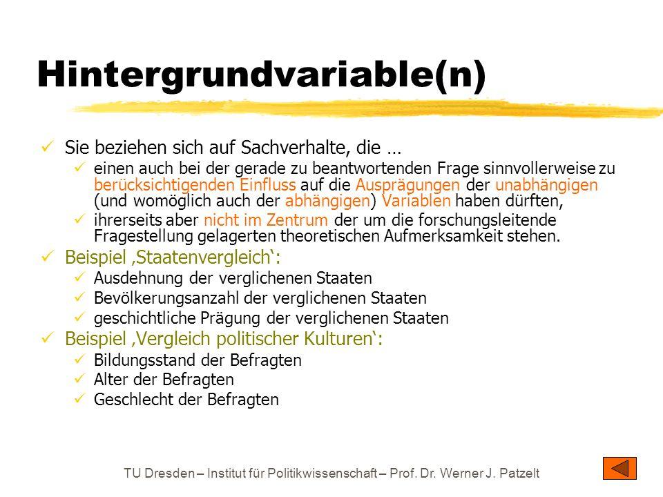 TU Dresden – Institut für Politikwissenschaft – Prof. Dr. Werner J. Patzelt Hintergrundvariable(n) Sie beziehen sich auf Sachverhalte, die … einen auc