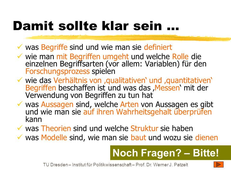 TU Dresden – Institut für Politikwissenschaft – Prof. Dr. Werner J. Patzelt Damit sollte klar sein … was Begriffe sind und wie man sie definiert wie m