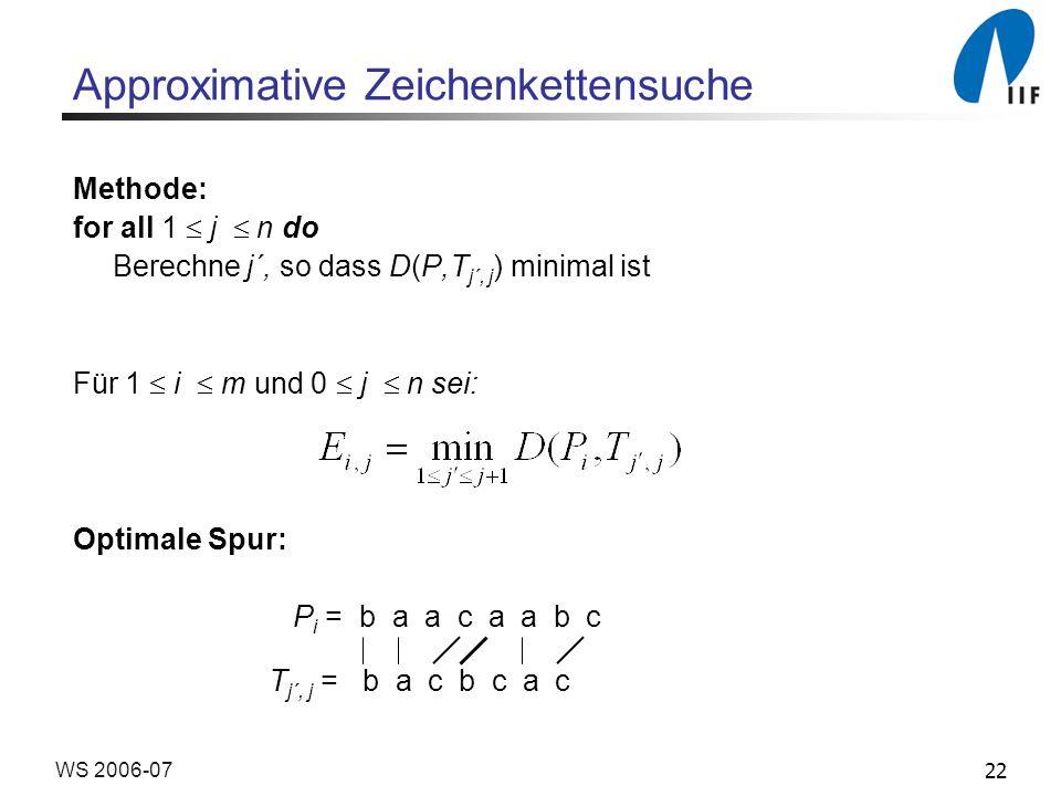 22WS 2006-07 Approximative Zeichenkettensuche Methode: for all 1 j n do Berechne j´, so dass D(P,T j´, j ) minimal ist Für 1 i m und 0 j n sei: Optima