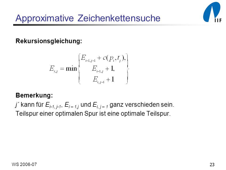 23WS 2006-07 Approximative Zeichenkettensuche Rekursionsgleichung: Bemerkung: j´ kann für E i-1, j-1, E i – 1,j und E i, j – 1 ganz verschieden sein.