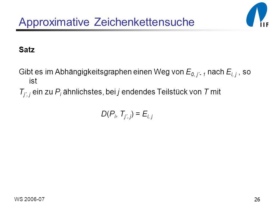 26WS 2006-07 Approximative Zeichenkettensuche Satz Gibt es im Abhängigkeitsgraphen einen Weg von E 0, j´- 1 nach E i, j, so ist T j´, j ein zu P i ähn