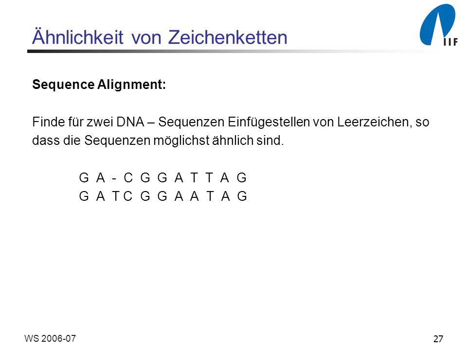 27WS 2006-07 Ähnlichkeit von Zeichenketten Sequence Alignment: Finde für zwei DNA – Sequenzen Einfügestellen von Leerzeichen, so dass die Sequenzen mö