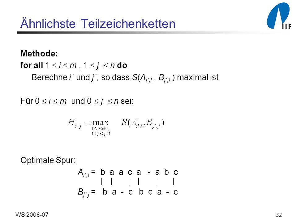 32WS 2006-07 Ähnlichste Teilzeichenketten Methode: for all 1 i m, 1 j n do Berechne i´ und j´, so dass S(A i´,i, B j´,j ) maximal ist Für 0 i m und 0