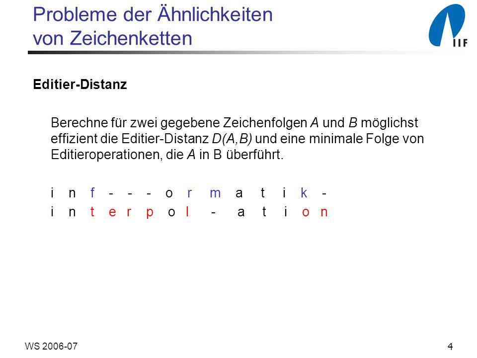 4WS 2006-07 Probleme der Ähnlichkeiten von Zeichenketten Editier-Distanz Berechne für zwei gegebene Zeichenfolgen A und B möglichst effizient die Edit