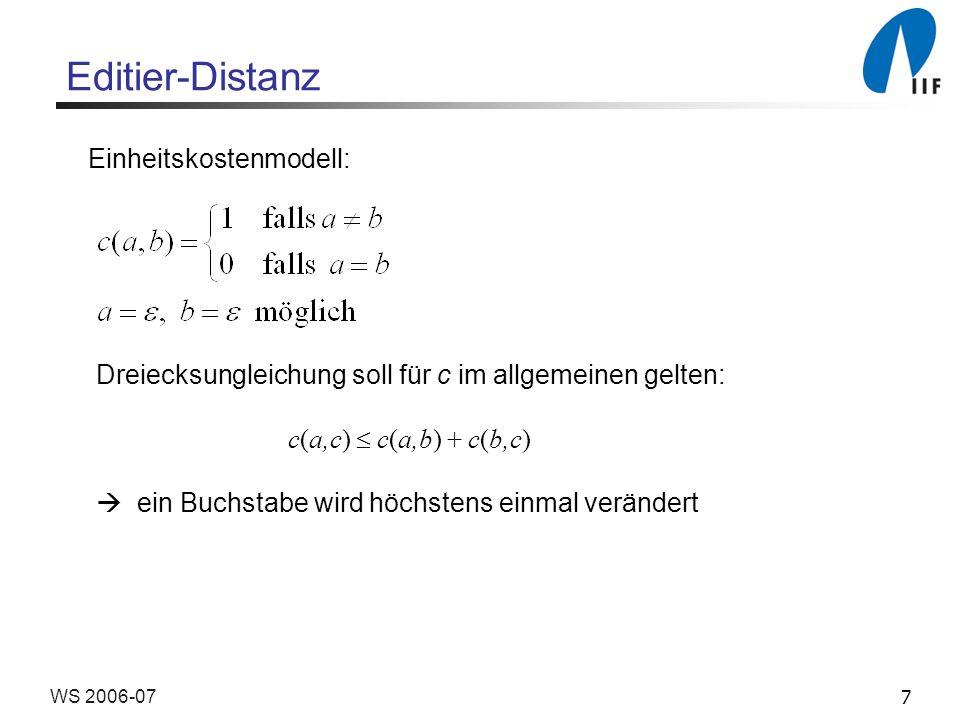 8WS 2006-07 Editier-Distanz Spur als Repräsentation von Editiersequenzen A = b a a c a a b c B = a b a c b c a c oder mit Indents A = - b a a c a - a b c B = a b a - c b c a - c Editier-Distanz (Kosten) : 5 Aufteilung einer optimalen Spur ergibt zwei optimale Teilspuren dynamische Programmierung anwendbar