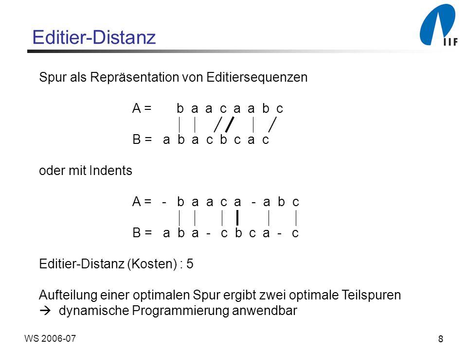 8WS 2006-07 Editier-Distanz Spur als Repräsentation von Editiersequenzen A = b a a c a a b c B = a b a c b c a c oder mit Indents A = - b a a c a - a