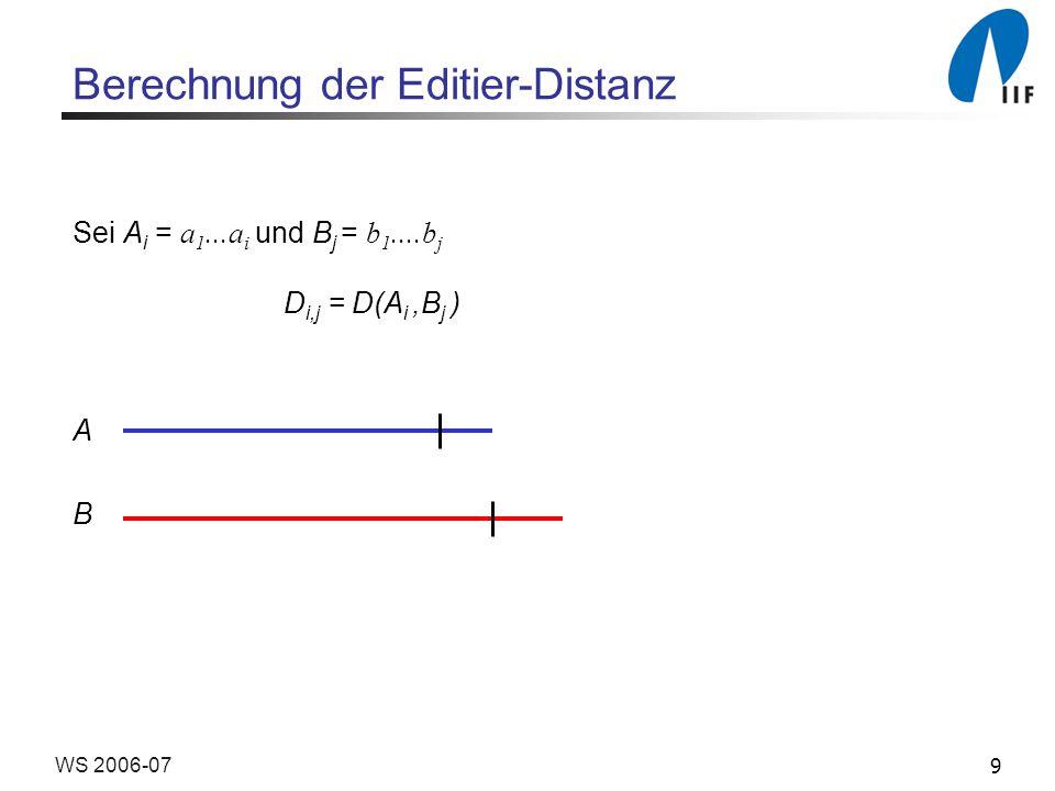 30WS 2006-07 Ähnlichkeit von Zeichenketten S i,j = S(A i, B j ), 0 i m, 0 j n Rekursionsgleichung: S m,n = max (S m-1,n-1 + s(a m, b n ), S m-1,n - c, S m,n-1 - c) Anfangsbedingung: S 0,0 = S(, ) = 0 S 0,j = S(, B j ) = - jc S i,0 = S(A i, ) = - ic
