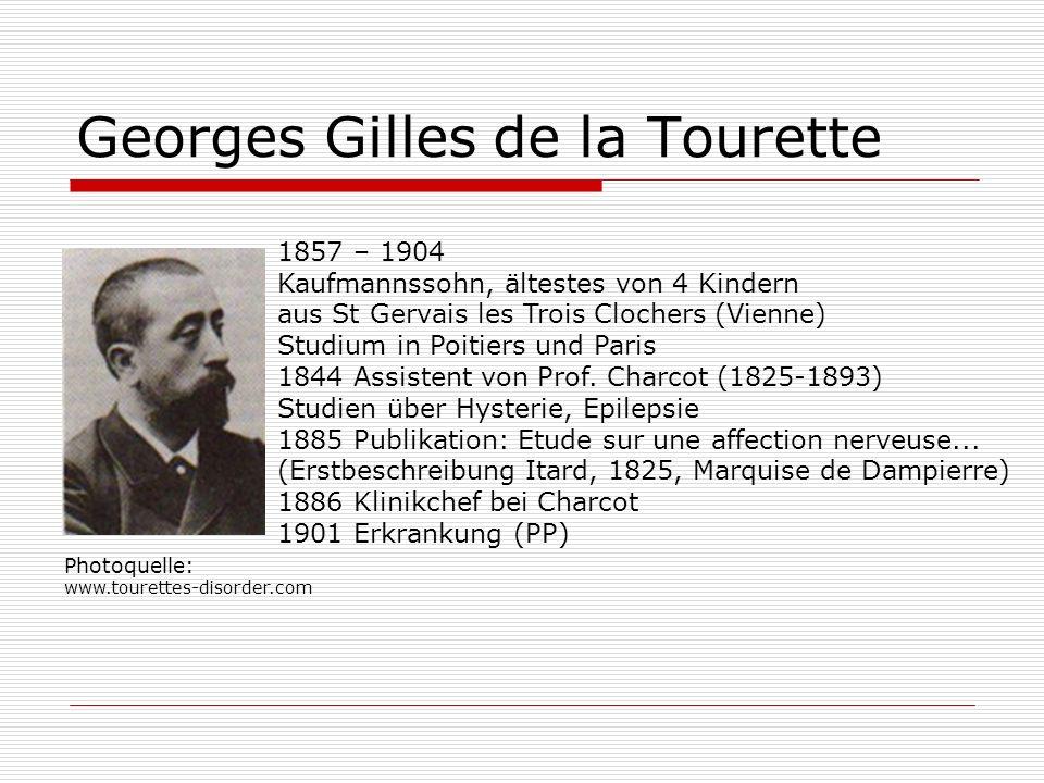Georges Gilles de la Tourette 1857 – 1904 Kaufmannssohn, ältestes von 4 Kindern aus St Gervais les Trois Clochers (Vienne) Studium in Poitiers und Par