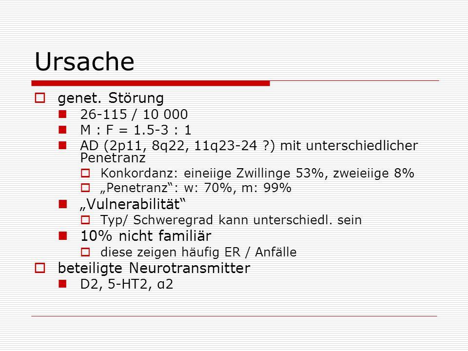 Ursache genet. Störung 26-115 / 10 000 M : F = 1.5-3 : 1 AD (2p11, 8q22, 11q23-24 ?) mit unterschiedlicher Penetranz Konkordanz: eineiige Zwillinge 53