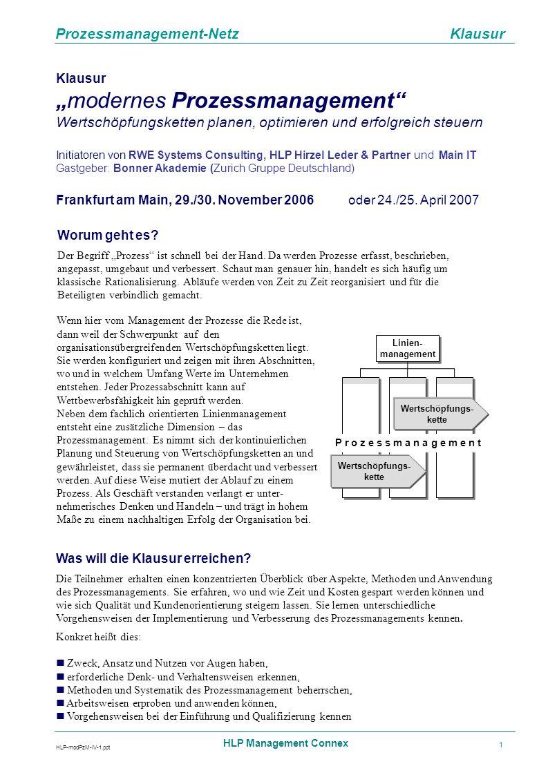 Prozessmanagement-Netz Klausur HLP-modPzM-IV-1.ppt HLP Management Connex 1 Klausur modernes Prozessmanagement Wertschöpfungsketten planen, optimieren