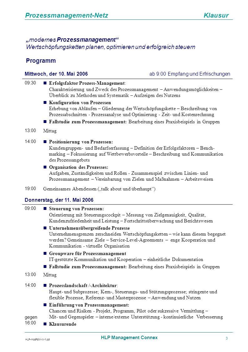 Prozessmanagement-Netz Klausur HLP-modPzM-IV-1.ppt HLP Management Connex 4 modernes Prozessmanagement Wertschöpfungsketten planen, optimieren und erfolgreich steuern HLP Management Connex Gesellschaft für Wissens- und Erfahrungsaustausch mbH Speicherstr.57 D-60327 Frankfurt/Main Tel: +49(0)69- 97 58 12-0 Fax: +49(0)69 -75 25 23 e-Mail: post@hlp-connex.de www.hlp-connex.de Fax-Antwort HLP Management Connex - Fax: 069-752523 Vor-/Nachname Position/Abteilung Firma/Institution Straße/Postfach Postleitzahl/Ort Telefon Fax Telefon Fax E-Mail Rechnungsanschrift (falls abweichend von oben) Ort, Datum, Unterschrift Ich/Wir nehme(n) teil am Klausur «modernes Prozessmanagement» 29.-30.