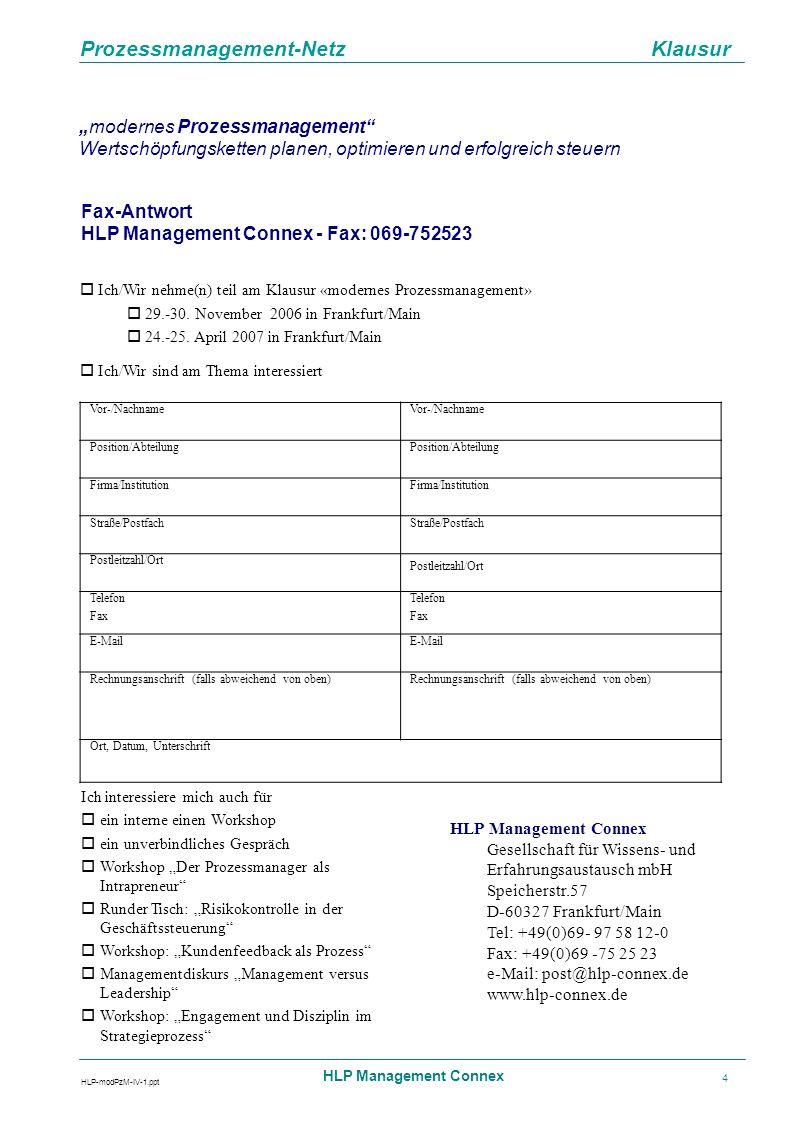 Prozessmanagement-Netz Klausur HLP-modPzM-IV-1.ppt HLP Management Connex 4 modernes Prozessmanagement Wertschöpfungsketten planen, optimieren und erfo